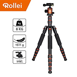 Rollei Traveler Alu Tripod I Orange I Camera Tripod I Travel Tripod with ball head incl. Monopod Arca-Swiss quick release plate Tripod bag 148.5 cm