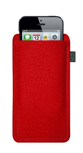 Krings Fashion - Custodia in feltro per Apple iPhone 5 Filzfarbe orange Filzfarbe rot