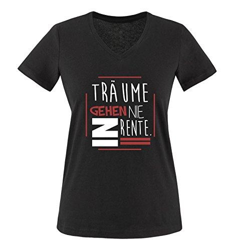 Comedy Shirts - Träume gehen nie in Rente. - Damen V-Neck T-Shirt - Schwarz / Weiss-Rot Gr. XXL (Gestrickte Tank Träume)