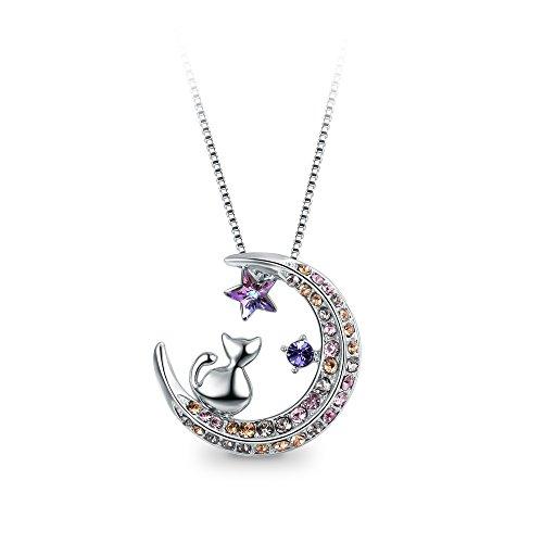 T400 Mond Katze Halskette Kette Anhänger mit Kristallen,Geschenke für Frauen Mädchen Damen 45 + 6CM Kettenlänge