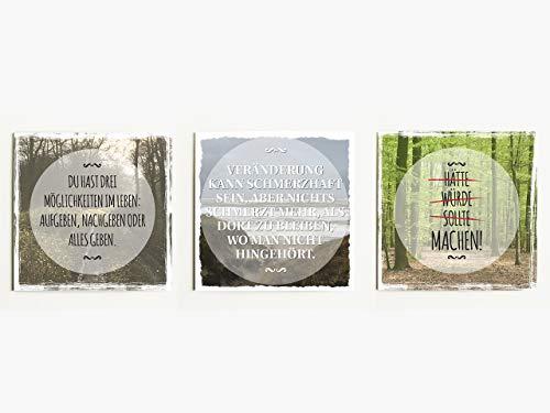 Interluxe Magnet 3er Set Du hast DREI Möglichkeiten 70x70mm Magnete für Kühlschrank mit motivierenden Sprüchen über Achtsamkeit, Ziele und Leben