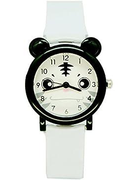 Kinder Cartoon Panda Uhren Jungen Mädchen Zeit Lehrer Wasserdichte Armbanduhren-Weiß Tiger