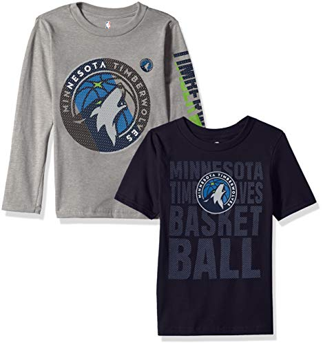 NBA by Outerstuff NBA Kids & Youth Boys Minnesota Timberwolves Short Sleeve & Long Sleeve Combo Pack, Dark Navy, Youth X-Large(18) -