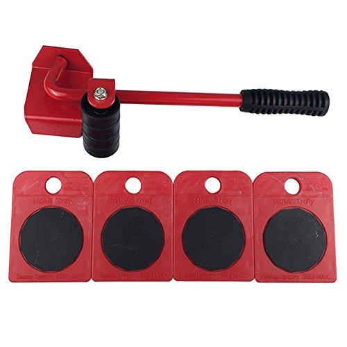 Möbel Heber Und Mover Rollen 4Pc Schwere Appliance Move Tools Set Mit 1 Hubstange Und 4 Packs 360 Grad Drehbare Möbel Folien Kit,Red