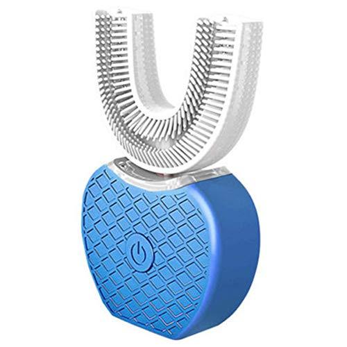 Cepillo de Dientes eléctrico automático, Cepillo ultrasónico de 360 Grados, 10-15S de Limpieza rápida, 4 Modos, Reutilizable, Forma de U, Cepillo de Dientes sónicos para Adultos, Azul, Tamaño Libre