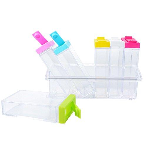 6pcs/set barattolo di vetro colorato condimento contenitore per ...