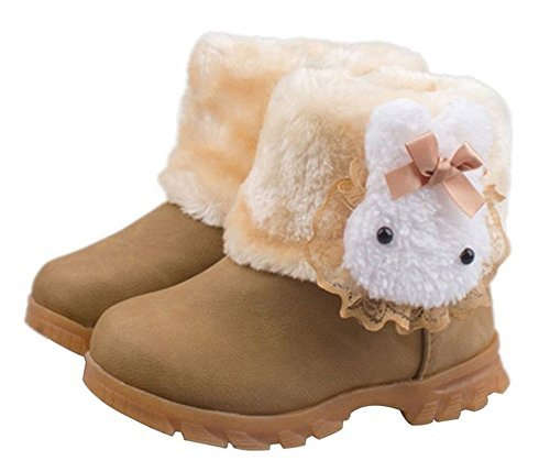 Arrowhunt Baby Girls Winter Fur Shoes Kids Rabbit Warm Snow Boots Coffee by Arrowhunt