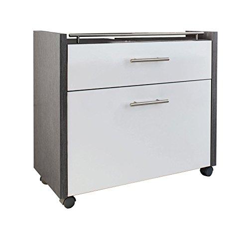 Schildmeyer Waschbeckenunterschrank Holz Dekor, 67 x 35 x 60,5 cm,  weiß glanz / esche grau Dekor
