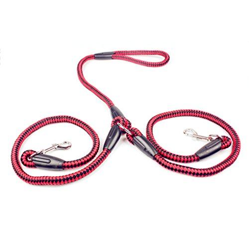 Preisvergleich Produktbild Lidahaotin Starke Nylon Doppelhundeleine Eine Drag Geflochtene Tangle Zugseil Strap Pet Accessory Rot + Schwarz