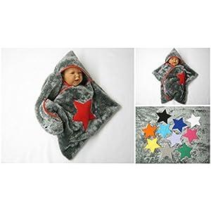star baby wrap soft fleece grau stern schlafsack pucktuch swaddle