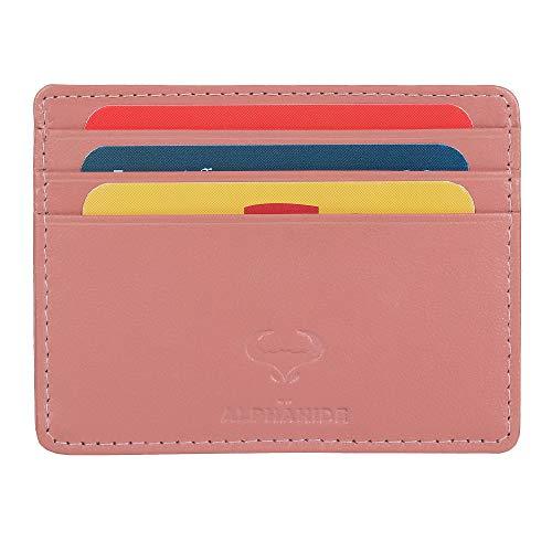 Real Leather Credit Card Holder - Ultra Thin Design - Front Pocket Wallet - RFID (Petal Pink)