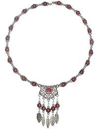 Lureme joyas tibetano plata antigua étnica con el collar de perlas de vidrio de la hoja de la cadena colgante gargantilla con extensión (01002706)