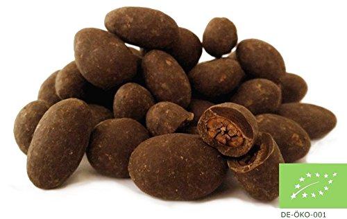 Edelmond® Schokolierte Bio Kakaobohnen - Herbe Schokoladendrops ✓ Nur 2 Zutaten: Kakaobohnen und Rohrzucker ✓ Vegan & Fair-Trade ✓ Natürlicher Genuss: Die andere Art Bitterschokolade, Herrenschokolade oder dunkle Schokolade zu genießen (90 g)