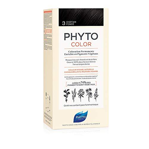 PHYTO PHYTOCOLOR 3 Castano scuro - Colorazione permanente a base di pigmenti vegetali - Senza amoniaca - Colore intenso - Copertura 100% capelli bianchi