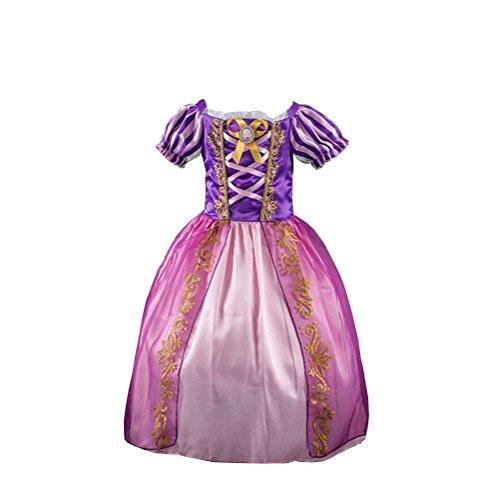 Das beste Kleine Mädchen Rollenspiel Tangled Rapunzel Kostüm Luxuriös Kinder (Tee Kostüm Kleid)