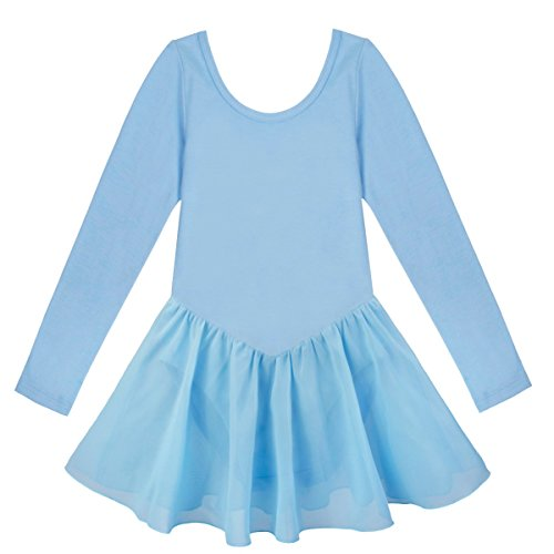 YiZYiF Mädchen Ballettkleid Ballettanzug Trikot Turnkleid Langarm Kleid mit Chiffon Rock in Rosa, Blau, Lavendel, Weiß, Schwarz Blau 98-104