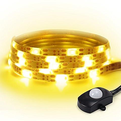 Bewegung aktiviert Bettlicht LED-Streifen-Licht-Kit JACKYLED 1,5m Nachtlicht Flexibler USB Wasserdichter Lichtstreifen Mit Automatische Abschaltung Sensor Warmes weiches Glühen 1600-1800K für Bedside Schlafzimmer Treppen Flure Schrank Schrank Sofa Möbel Dark Corner