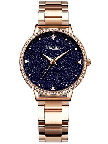 Alienwork Damen-Armbanduhr Quarz Rose-Gold mit Edelstahl Metallarmband schwarz echtes Marmor Zifferblatt Strass-Steinen