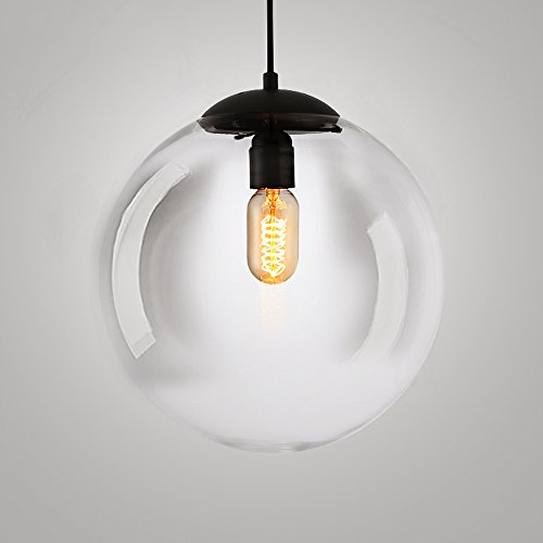 Hines Vintage Pendelleuchte, Industrielle Lampe Transparent Runde Glaskugel Hängenden Lampenschirme Retro Decke Kronleuchter Lampenschirm Retro Deckenleuchte Vintage Lampe (Size : 20cm/7.87in)