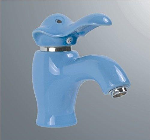 SADASD Grifo de lavabo de cobre para baño contemporáneo, cerámica, diseño de dibujos animados, color elefante, azul, lavabo, lavabo, mezclador, bobina de cerámica, un sol