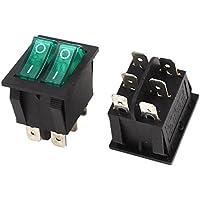 DealMux a14071100ux1118 SPST dupla Botão Verde Lâmpada Boat Rocker Switch, 6 pinos AC 250V / 15 Amp, 125V 20 Amp, 2 Piece