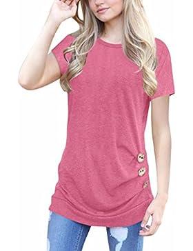Camiseta de Manga Corta y Cuello Verano Redondo Para Mujer, de Logobeing. Tallas Grandes,Blusa Con Botones Flojos...