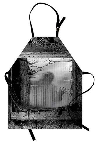 Soefipok Horror House Schürze, Zombie Außerhalb von Spinnennetz Dirty Glass Auffallend Nightmare Killer Terror Danger, Unisex-Küchenschürze mit verstellbarem Hals zum Kochen Backen Gartenarbeit, ()