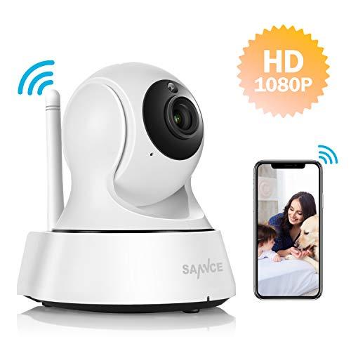 Wlan IP Kamera,SANNCE HD 1080P Überwachungskamera Indoor Wireless Kamera mit Bewegungserkennung,100ft Nachtsicht, Zwei Wege Audio,unterstützt Fernalarm und Mobile App Kontrolle als Babykamera (Wireless-kamera-app)