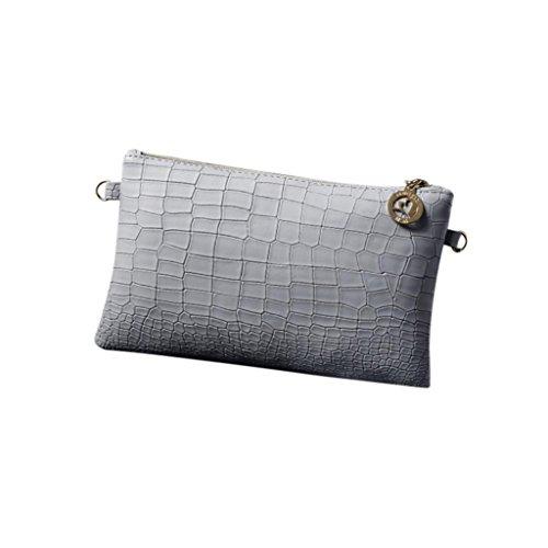 Ba Zha Hei  Damen Mode Krokodil-Muster Diagonale Schultertaschen Damenmode Alligator Handtasche Crossbody Umhängetaschen Clutch Praktische Größe - Kette Tasche Henkeltasche Shopper (Grau)