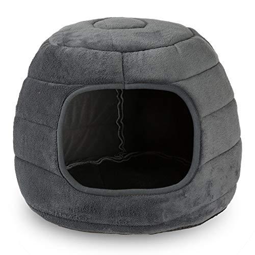 F® FLLUFFY Katzenhöhle für kleine Katzen, Waschbare Kuschelhöhle, Iglu Haustierbett, rutschfest, 2 in 1 faltbar als Katzenhaus oder Katzenbett, Grau - M
