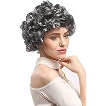 WIG ME UP ® - 91097-ZA63-ZA103 Perruque dames carnaval, gris-noir foncé bruyère boucles courte grand-mère dame âgée