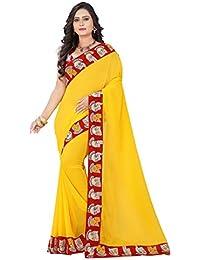 Aaradhya Fashion Women's Faux Georgette Kalamkari Saree With Blouse Piece