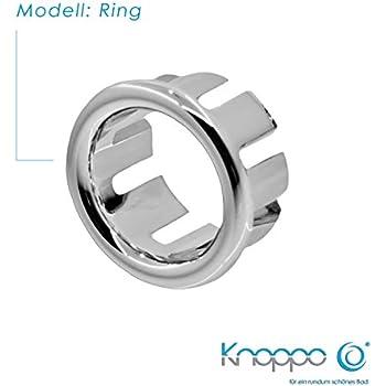 knoppo waschbecken berlauf abdeckung berlaufblende ring in 6 verschiedene design modelle. Black Bedroom Furniture Sets. Home Design Ideas