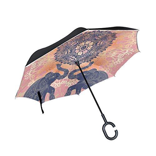 Mnsruu Paraguas invertido con patrón Indio de Elefantes, Doble Capa, Paraguas Plegable...