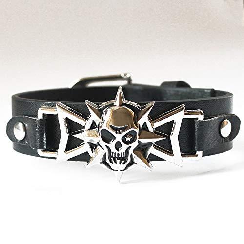 IJEWALRY Damenarmband Armbänder Armband,Mode Persönliche Elegante Skeleton Schädel Punk Spike Armband Lederarmbänder Armreifen Für Frauen Männer Vintage Silber Schmuck