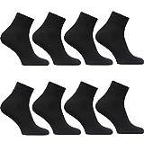 12 Paar Damen Herren Quarter Kurzsocken Sneaker Socken (43-46, Quarter Schwarz / 12 Paar)