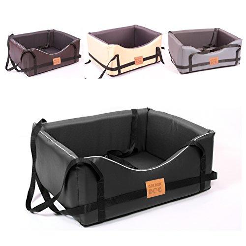 Golden Dog Hundeautositz Hundesitz Luxus Hundebett Kunst Leder Autokörbchen Autositz (L (65x55 cm), schwarz-dunkelgrau)