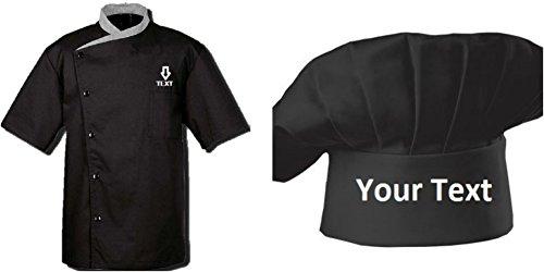 Namens stickerei Unisex Kurzarm Chef Mantel Uniform Jacke (M (Für Brust 40-41), Schwarzer + Schwarzer Chef Cap)