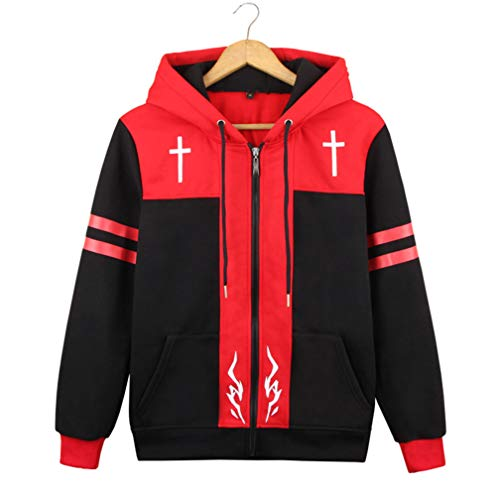 Kostüm Cosplay Fate Zero - Cosstars Fate Zero Fate/Stay Night Anime Kapuzenpullover Sweatshirt Cosplay Kostüm Hoodie Jacke Top Mantel Rot XXL