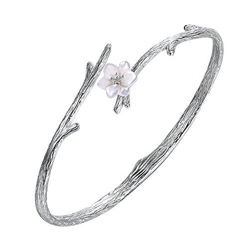 Jewboo 925argento sterling originale sakura apertura braccialetto regolabile della scultura fiore per le donne gioielli regalo