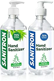 SANITRON Hand Sanitizer Combo Pack - with 75% Isopropyl alcohol (IPA) - 500 ml Unscented + 500ml Neem Flavour