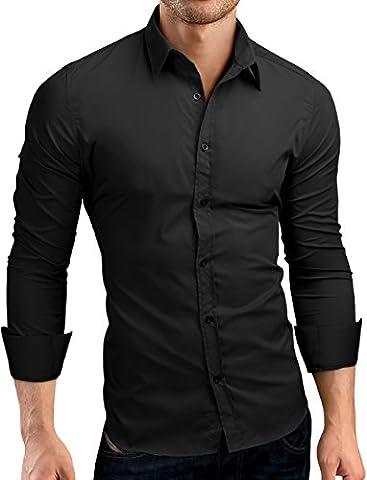 Grin&Bear coupe slim chemise homme, manches longues, noir, S,