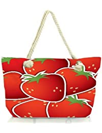 Snoogg Strawberry Sticker Background Card In Vector Format Women Anchor Messenger Handbag Shoulder Bag Lady Tote...