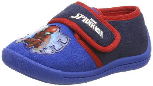 Spiderman Boys Kids Velcro Low Houseshoes, Zapatillas de Estar por casa para Niños, (Cobalt Blue Navy 785), 31 EU