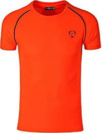 Jeansian Hombres Deportes Wicking Quick Dry Respirable Corriente Training TeeT-shirt Sport Slim Tops LSL182