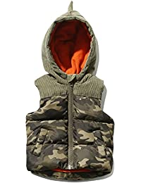 M&Co Baby Boy Green Cord Yolk Camouflage Print Zip Through Dinosaur Spine Hooded Gilet