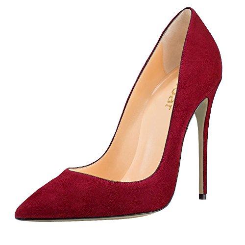 Guoar High Heels Damenchuhe Große Größe Pumps Einfach Stil Spitze Zehen Hand gemacht Stiletto Büro-Dame Party Hochzeit Rotwein Samt
