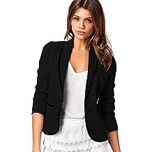 6536bc02edc5 Damen Strickjacken Cardigan Elegant Blazer Leicht Bolero Offene Blazer  Business Anzug mit Taschen Tailliert Kurzjacke Büro