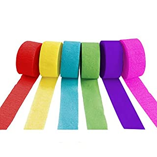 Ailiebhaus 6 Rolls Crepe Paper Streamers for DIY Craft, Assorted Colours