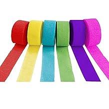 Ailiebhaus Crepe Banderolas de Papel 10m x 5cm, 6 Rollos, Colores Surtidos
